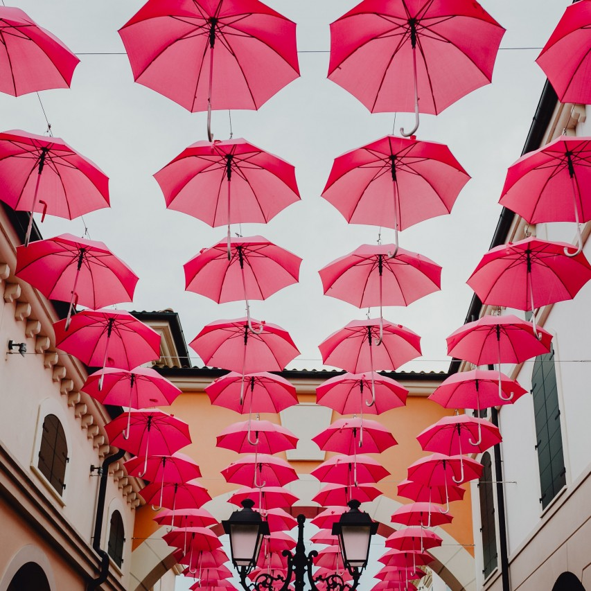 I am a lovely mess and so are you red umbrellas hanging