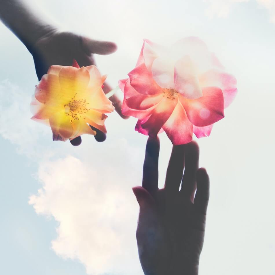 hands and flowers against the sky. Photo by Evie S. on Unsplash