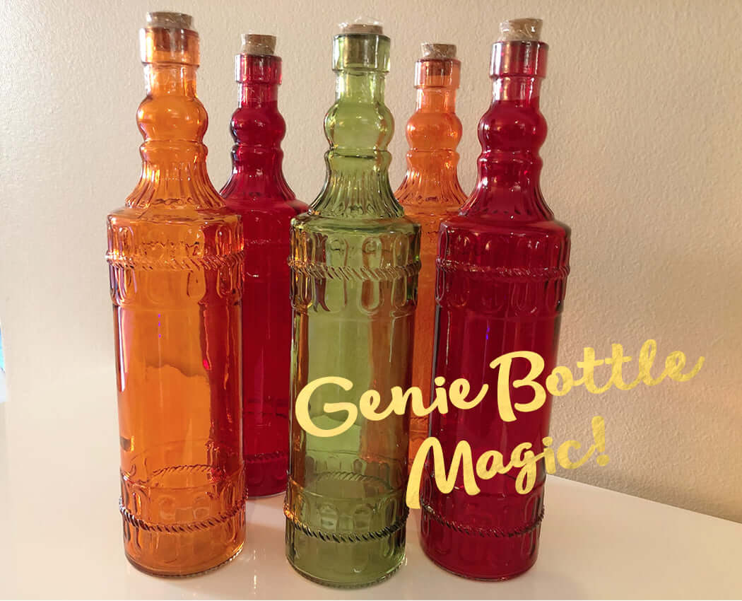 "colorful glass bottles to use for a ""genie bottle magic"" ritual"