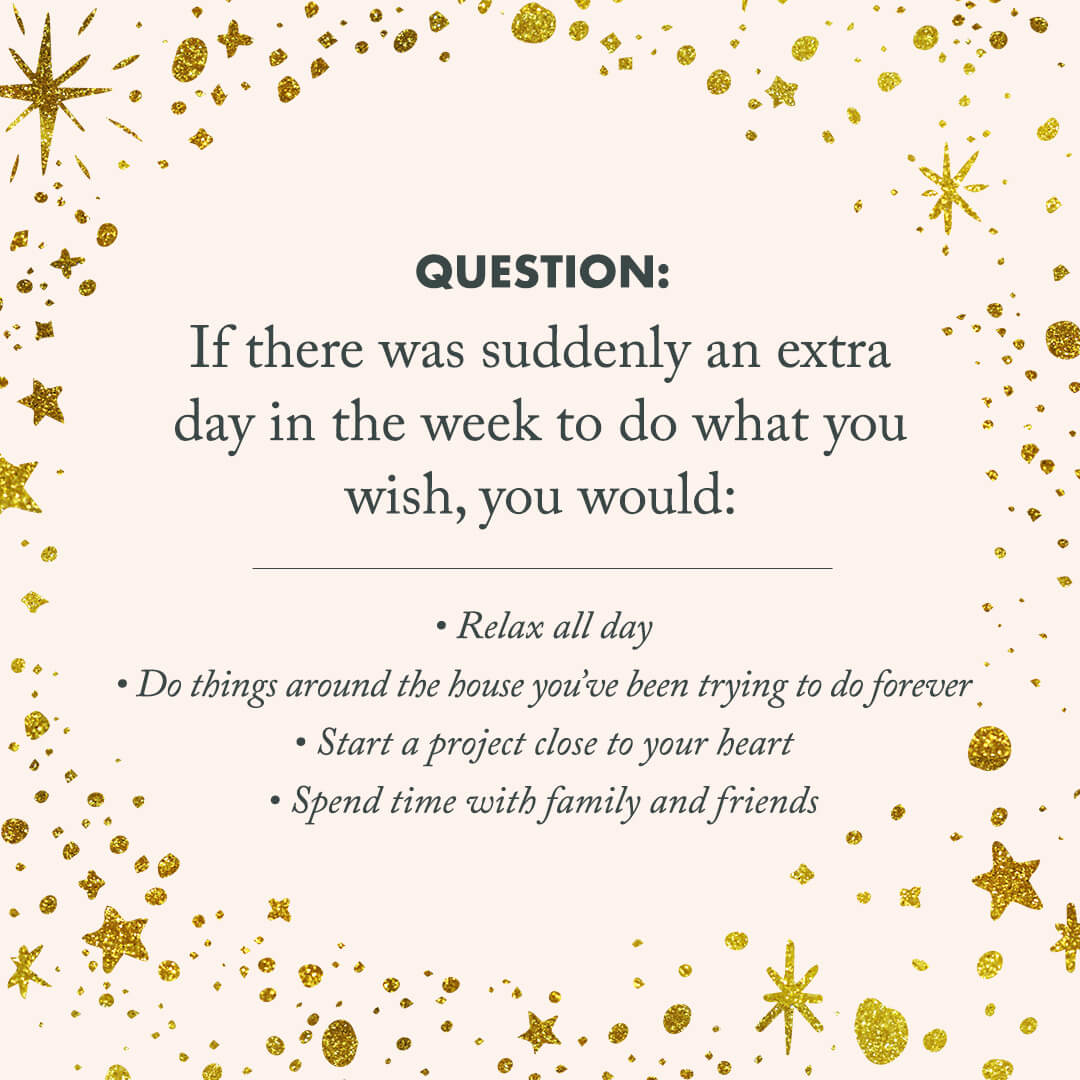 """quote image that says, """"If there was suddenly an extra day in the week to do what you wish, you would..."""""""